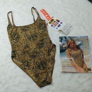 VTG animal print Tan-thru backless 1piece swimsuit